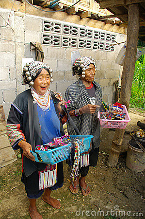 Two women of Akha ethnic Editorial Photo