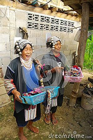 Two women of Akha ethnic Editorial Photo