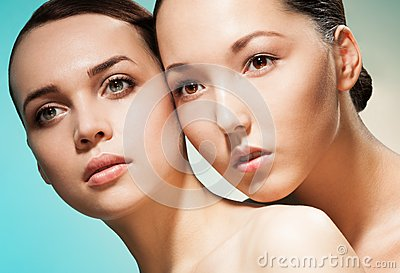 Two women beauty portrait