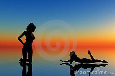two women on blue and orange background