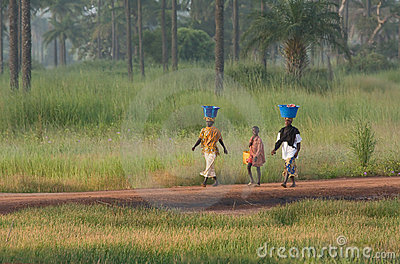 Two women and a boy in The Gambia Editorial Image