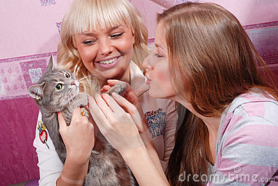 Two women with cat