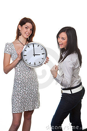 Two women with clock