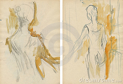 Two women-dancers,drawing