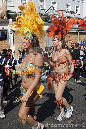 Two women dancing in at Notting Hill carnival Editorial Photography