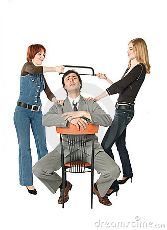 Two women dividing a man