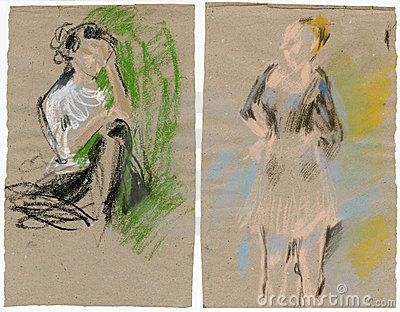 Two women, drawing