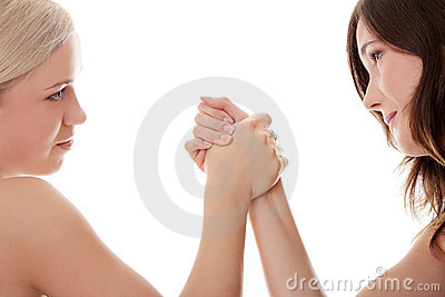 Two women hands fight