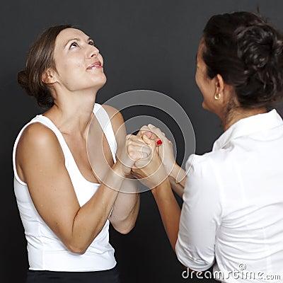 Two women happy