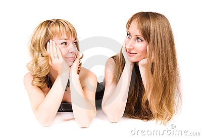 Two women looking go each other