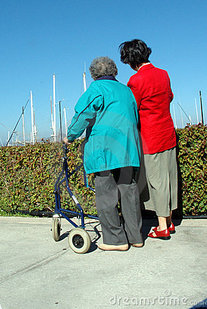 Two women one with a walker
