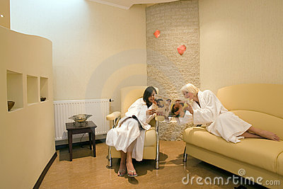 Two women at resort spa