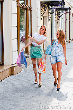 Two women with shopping