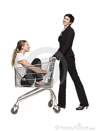 Two women and a shopping cart
