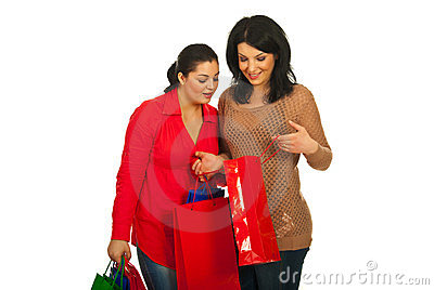 Two women at shopping looking bag