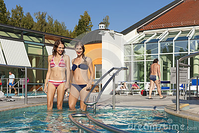 Two women in swimming pool