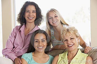 Two Women And Their Teenage Daughters