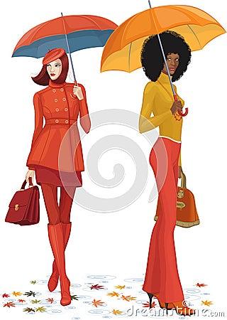 Two women under rain