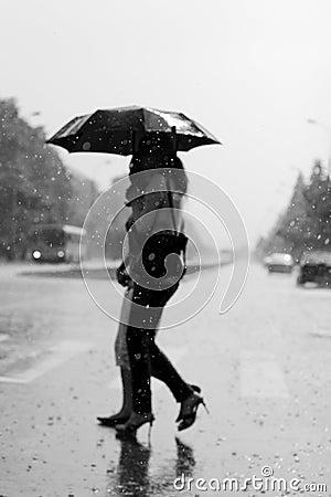 Free Two Women Walking Under The Rain Stock Photo - 14120880