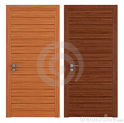 Two wooden closed doors