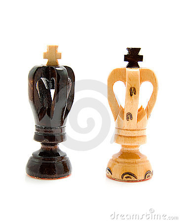 Two wooden king chess pawns