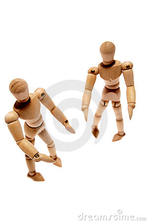 Two wooden mannequins
