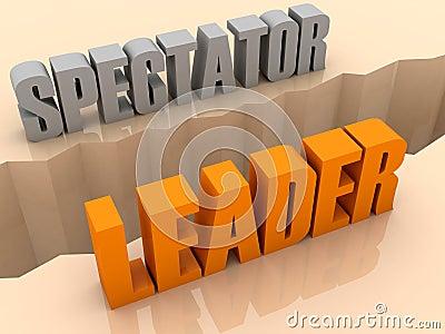 Two words SPECTATOR and LEADER split on sides, separation crack.
