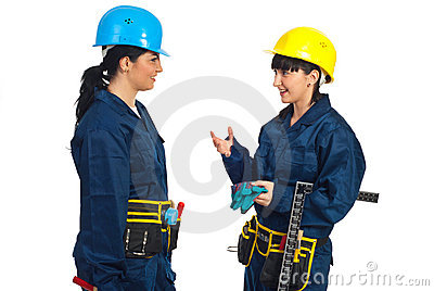 Two workers women having conversation