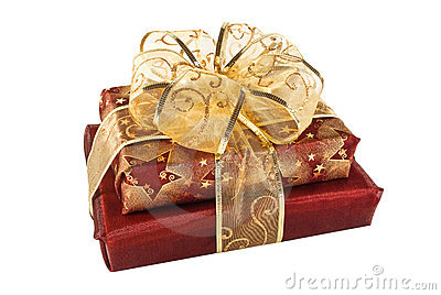 Two wrapped red gift boxes