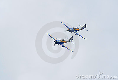 Two Yak-52 planes fly in formation Editorial Stock Photo