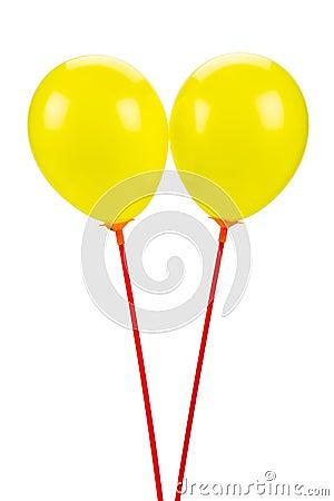 Free Two Yellow Balloons Stock Photo - 115378240