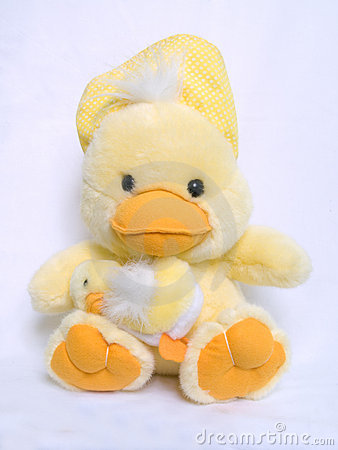 Two Yellow, cute and fluffy cuddly toy chicks