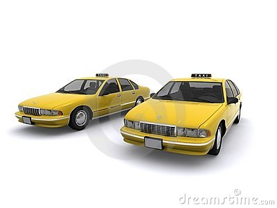 Two yellow taxi cabs