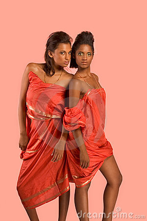 Two young beautiful ethnic sexy women in sari
