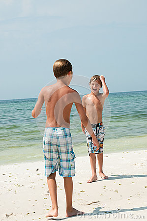 Two young boys on the beach