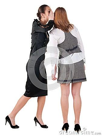 Two young  business women  gossiping