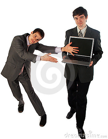 Two young businessmen show laptop 2