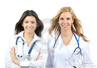 Two young doctor or nurse internship