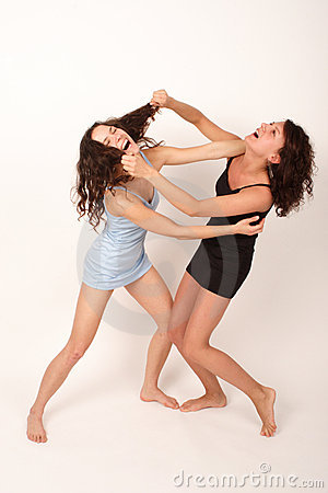 Two young fighting women 1