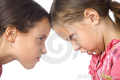 Two young girls in argument