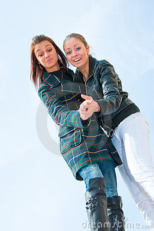 Free Two Young Girls Portrait Over Sky Royalty Free Stock Image - 9505786
