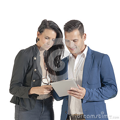 Two young handsome business people working with digital tablet