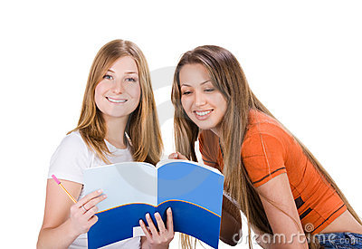 Two young happy student girl, isolated on white