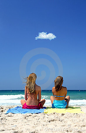 Free Two Young, Healthy Sexy Women Sitting On A Sunny Beach Royalty Free Stock Image - 1797246