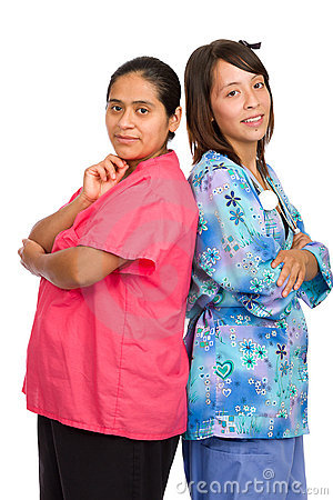 Two young hispanic nurses