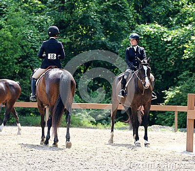 Two Young Horse Riders Chat At The Germantown Charity Horse Show Editorial Stock Photo