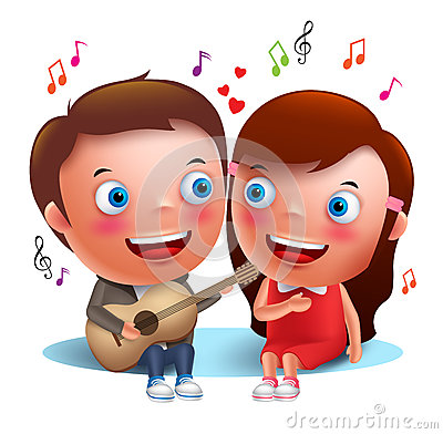 Free Two Young Kids Couple Happy Singing Serenade With Guitar For Valentines Royalty Free Stock Images - 76933799