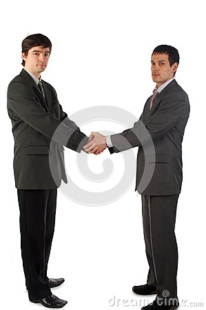 Two young man handshake