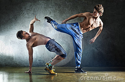 Two young men sports fighting