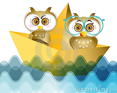 Two young owls at the sea